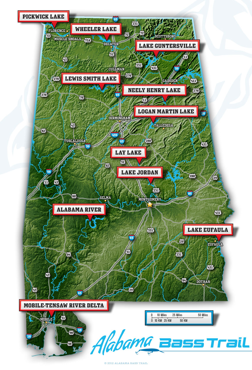 Large Alabama Bass Trail Map