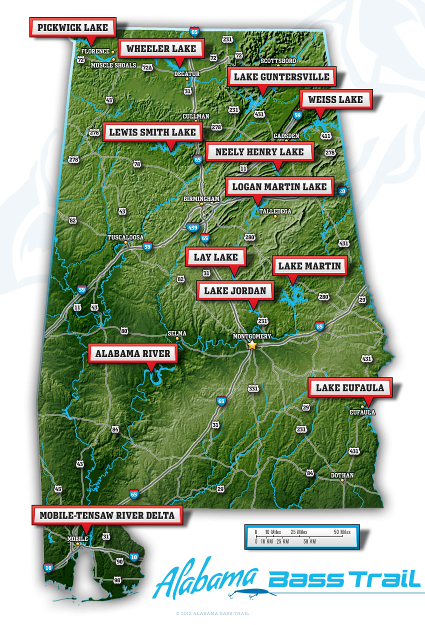 Large Alabama Bass Trail Map
