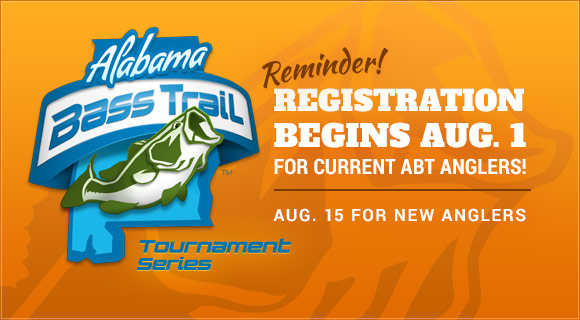 2015 Tournament Registration begins August 1 for current ABT Anglers. August 15 for new anglers.